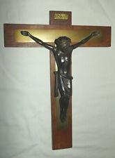 Wall Crucifix Franciscan TAU Cross Hardwood MetalPanels Germany Patinized Corpus