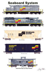 """Seaboard System Freight Train 11""""x17"""" Railroad Poster Andy Fletcher signed"""