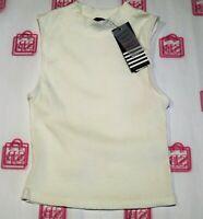 Ally Brand Cream Ribbed Turtle Neck Semi Crop Top Size 8 BNWT #RI60