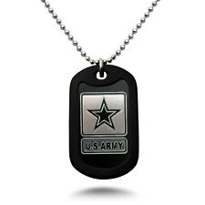 U.S. Army Logo + Psalm 23:4 Verse Military Style Aluminum Dog Tag Necklace