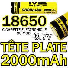 2 x LITHIUM ION PILE 3,7 V 2000mAh Type 18650 Li - ion 65 x 18 mm TÊTE PLATE MOD