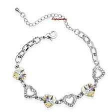White Gold Filled AB White Bridal Heart Bracelet Made With Swarovski Crystal T23