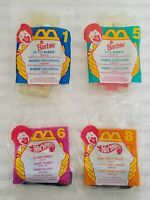 BARBIE HOT WHEELS McDONALD'S HAPPY MEAL 1995 SET OF 4 TOYS + 4 FRENCH FRY BOXES