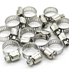 """10x 3/8""""-5/8"""" Stainless Steel Drive Hose Clamp Fuel Line Worm Clip Adjustable P"""