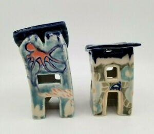 2 Ceramic Hand Crafted Aquarium Fish Tank Ornament Houses Sea Life Shelters Sign