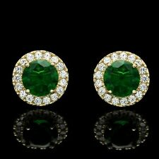 3ct Halo Round Cut Diamond & Green Emerald Stud Earrings In 14k Yellow Gold Over
