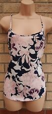 PAPAYA NAVY BLUE PINK FLORAL STRAPPY SUMMER CAMI VEST BLOUSE TOP TUNIC 10 S