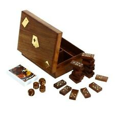 Wooden Domino Dice and Playing Cards, 3 in 1 Box Hand Constructed Safe Luxurious