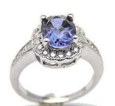14 KT WHITE GOLD IOLITE LADY'S RING WITH 0.30 CT DIAMOND