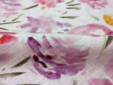 100% linen fabric - printed floral pink -   french belgium flax dense