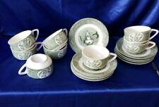 LOT of 8 Royal Old Curiosity Shop Green Cup and Saucer Set 2 extra plates