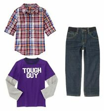 Size 5-6 Gymboree SHIELDS & SAILS Boys Outfit Tee,Check Shirt,Denim Jeans,NWT