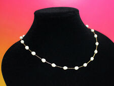 Shell Shape Gold Tone Choker Necklace Simulated Pearl Drops