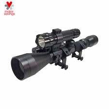 3-9X40 Tactical Crosshair Optics Sniper Hunting Rifle Scope Red Laser Flashlight