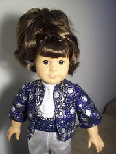 """18"""" doll clothes fit american girl, blue and silver pant set"""