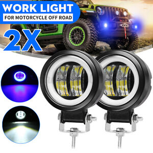 "2pcs 3"" INCH Round LED WORK LIGHT BAR Spot Lamp Off Road Driving Fog Light DRL"