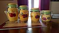 Mayfair & Jackson Canister Set(4) Excellent Condition-Fruits Theme- Earth Tones