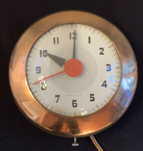 """Vintage Ingraham Sentinel Wafer Art Deco Copper 7"""" Wall Clock Red Second Hand"""
