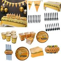 Engineering Car Tableware Set Paper Plate Pull Flag Kid Birthday Party Decor A