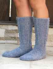 BLUE wool socks thick hand knit 100% natural organic wool unisex leg warmers