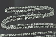 3.10 grams 14k solid white gold foxtail wheat chain necklace 24  inches #3529