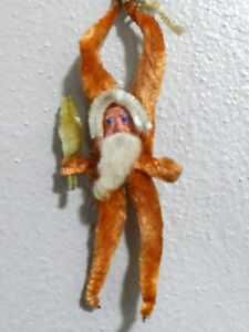 Vintage Christmas Red Chenille Pipe Cleaner Santa Claus Tree Ornament Japan