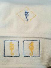 Set Of 2 Simurg White Hand Towel & Finger Towel Sea Horse Made in Turkey
