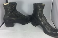 Edwardian Women Antique Black Leather Button Ankle Half Boots Shoes Size 6