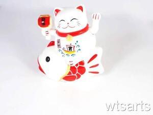 11cm Waving Fortune Cat Riding Carp - Maneki Neko Lucky Fish