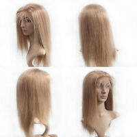 Lace Front Wig 100% Remy Indian Human Hair Full Wigs Silky Straight Blonde #27