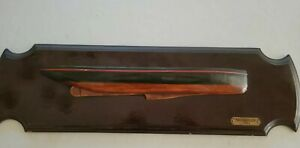 "Vintage Wood Half Hull Ship Boat Model of ""Mischief 1881', 21"" long wood plaque"