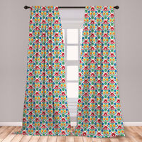Folk Art Microfiber Curtains 2 Panel Set for Living Room Bedroom in 3 Sizes