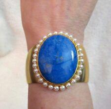 Bracelet Metropolitan Museum Costume Inst Superb! Mma Blue Stone Faux Pearl Cuff