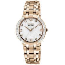 Citizen Em0123-50a Ladies Diamonds 29mm Gold Steel Bracelet & Case Solar Watch