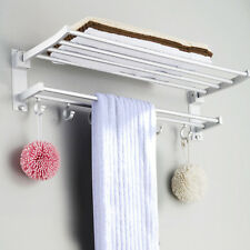 LARGE DOUBLE SHELF WALL MOUNTED BAR BATHROOM TOWEL RAIL STORAGE HOLDER RACK HOOK