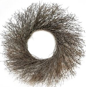 "22"" Natural Brown Quail Brush Branches Wild Twig Round Wreath"