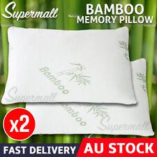 2x Bamboo Fabric Fibre Cover Memory Foam Pillow Vertebra Care 70 x 40 cm