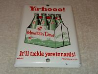"VINTAGE YA-HOOO MOUNTAIN DEW +HILLBILLY 7"" PORCELAIN METAL SODA POP GAS OIL SIGN"