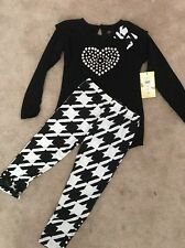 NWT ABS KIDS 2-PC SHIRT AND PANT SET HOUNDSTOOTH BLACK WHITE HEART LEGGING 5