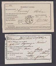 Hungary 185(?) and 1876 Postal Receipts, Magy. Ovar Cds, Vf