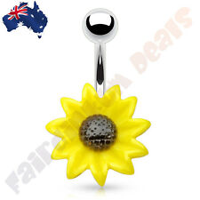 316L Surgical Steel Acrylic Sunflower Belly Ring