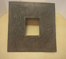 ANTIQUE ARTS AND CRAFTS PICTURE FRAME MATTING PUNCHED TOOLED BRASS PANEL FLORAL