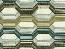 Designer Upholstery Fabric Heavy Wt. Chenille Jacquard Geometric - Teal / Kiwi