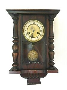 FOUND ANTIQUE  POST 1890'S WOODEN CASED  H.A C  8 DAY WIND UP WALL CLOCK VGWC