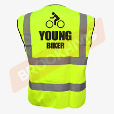 Cycling Hi Viz Vis Cycle Waistcoat Vest Tabard Road Safety Reflective Bike Rider M Young Biker