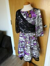 Ladies OLIVIA RUBIN Dress Size 8 Purple Black 50s Fit And Flare Party Evening