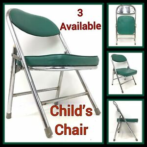 Kids Mid-Century Modern Style Chrome & Faux Leather folding chair