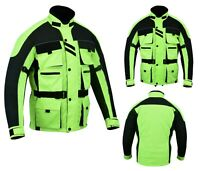 NEW MENS HIVIS MOTORCYCLE WATERPROOF TEXTILE BIKERS CE ARMOURS SUMMER JACKETS