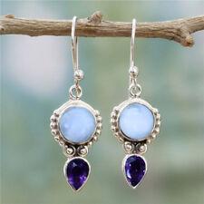 Jewelry 925 Silver Moonstone Earrings Women Vintage Amethyst Dangle Drop Hook