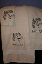 Horse Head Outline Personalized 3 Piece Bath Towel Set Any Color Choice